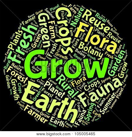 Grow Words Represents Cultivates Growth And Cultivation