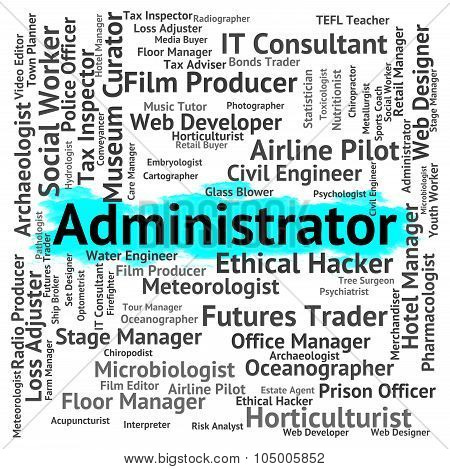 Administrator Job Indicates Word Recruitment And Employee