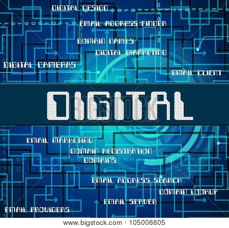 Digital Word Means Technology Digitally And Www