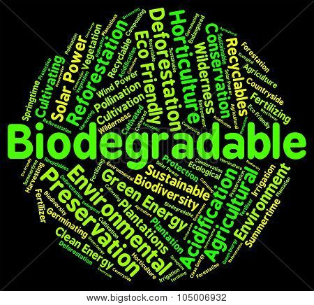 Biodegradable Word Means Degrade Biodegradation And Decompose