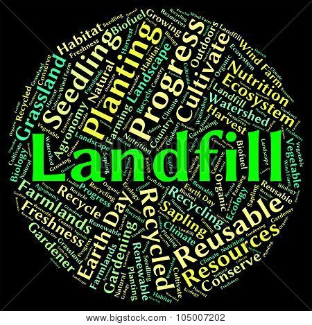 Landfill Word Shows Waste Management And Disposing