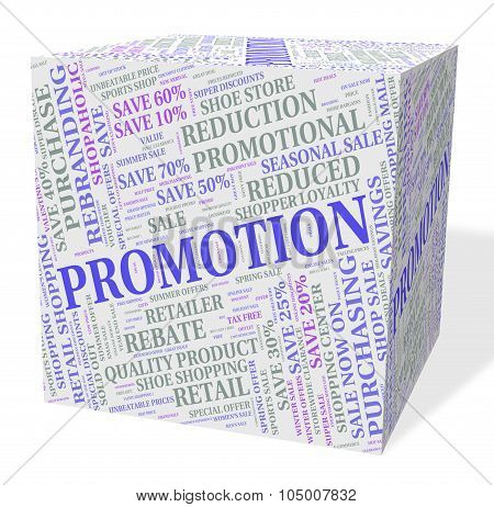 Promotion Cube Indicates Cheap Clearance And Save