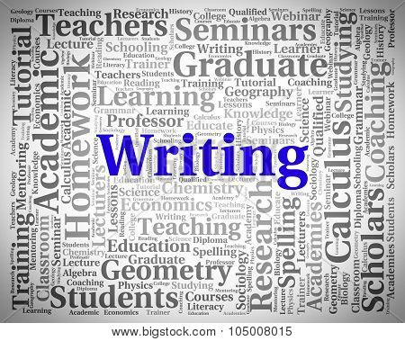 Writing Word Indicates Text Penmanship And Script