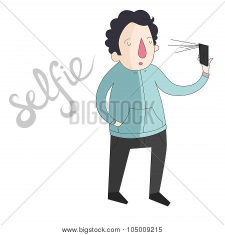 selfie man photo illustration vector color
