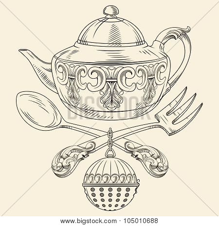 tea pot spoon fork