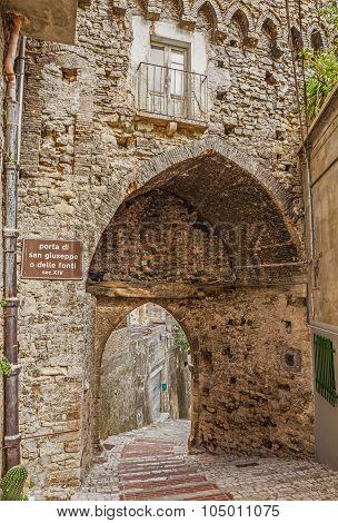 Medieval City Gate In Atessa, Abruzzo, Italy