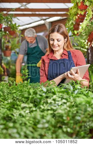 Woman with clipboard controlling plants in a garden center