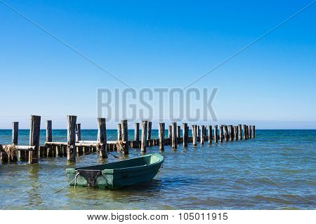 Groyne And Fishing Boat On The Baltic Sea Coast