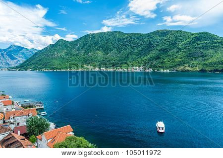 Top View On Perast City And Kotor Bay