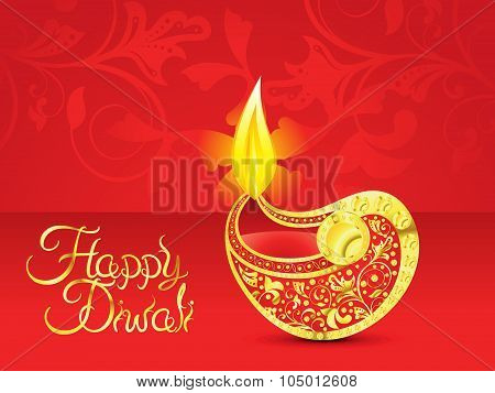 Abstract  Red Golden Diwali Vector Illustration