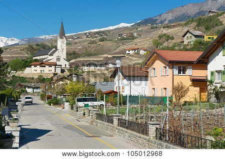 View to the street of Brig (Brig-Glis), Switzerland.