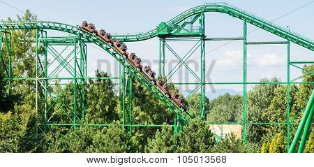Roller Coaster At The Largest Amusement Park In Italy.