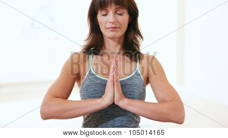 Healthy Woman Practicing Meditation Yoga
