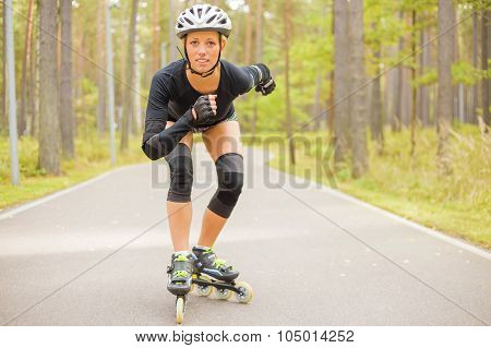 Woman roller skater training