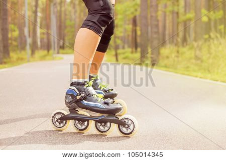 Woman roller skater on roller skates