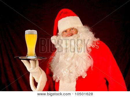 Santa With Glass Of Beer On Tray