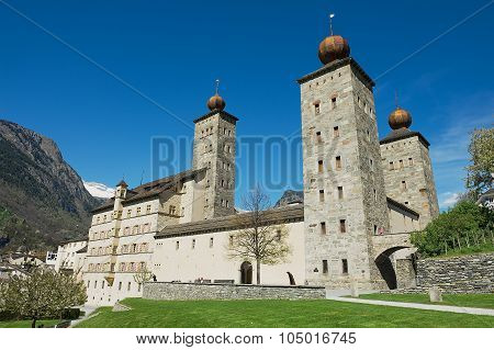 View to the Stockalper palace building in Brig (Brig-Glis), Switzerland.