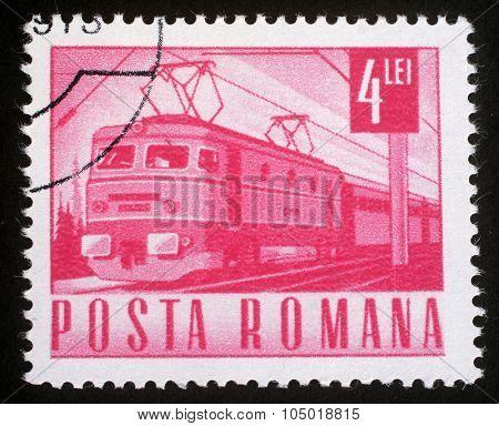 ROMANIA - CIRCA 1971: A stamp printed in Romania shows Electric train, circa 1971