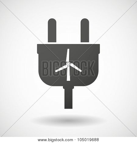 Isolated Plug Icon With A Wind Generator