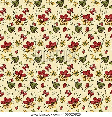 Vector Seamless Floral Pattern with Decorative Insects