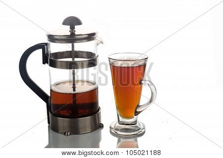 Freshly Brewed Hot Tea In Transparent Glass With Portafilter
