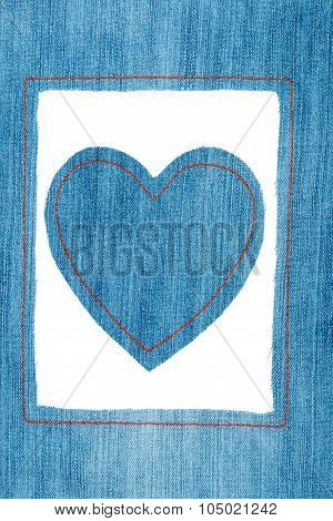 Symbolic Heart And Frame Made Of Jeans
