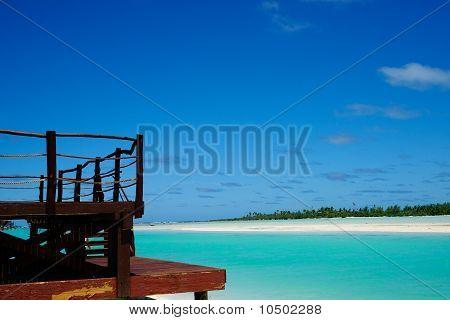 View across tropical lagoon.