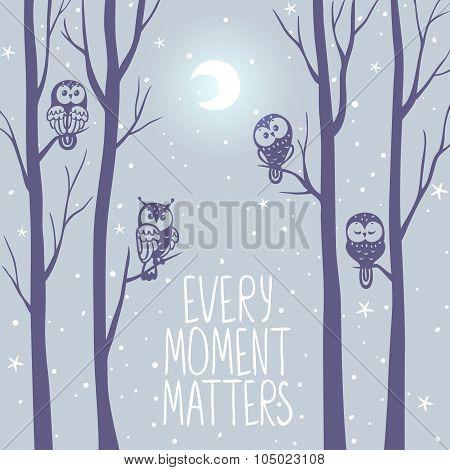 Owls night background