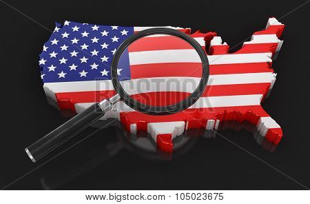 Map of USA with loupe (clipping path included)