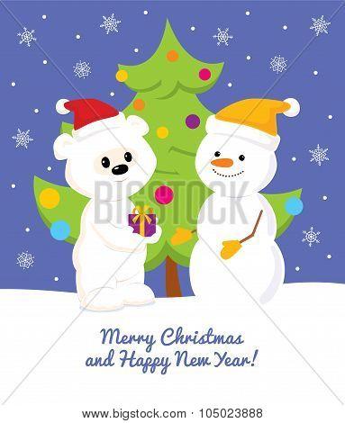 White Teddy Bear Snowman Tree