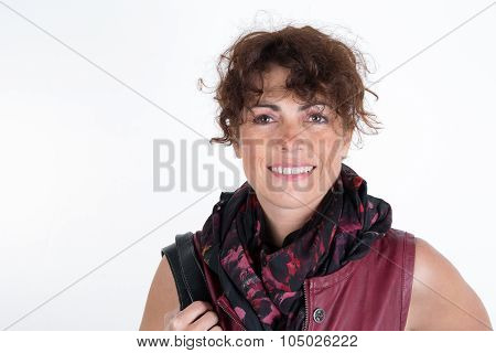 Happy Woman Over White Background Wearing Burgundy Dress, Scarf And Bag
