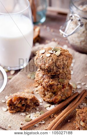 Oat and peanut butter cookies with glass of milk