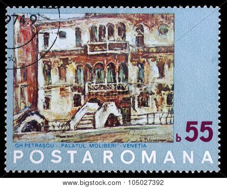 ROMANIA - CIRCA 1972: stamp printed by Romania, shows Painting of Venice by N. Petrascu, circa 1972