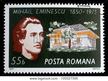 ROMANIA - CIRCA 1975: stamp printed by Romania, shows Mikhail Eminescu and his house, circa 1975
