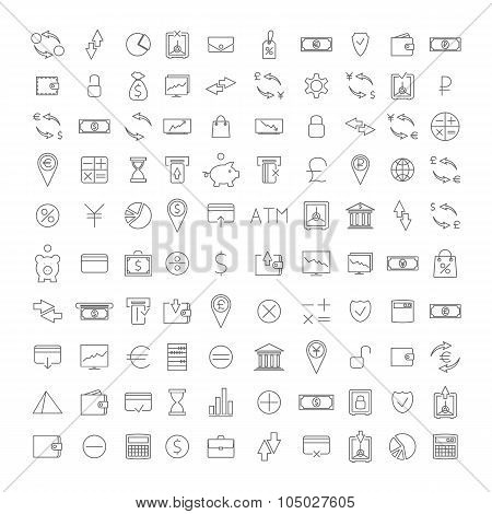 Set Outline Icon, Vector Illustration.