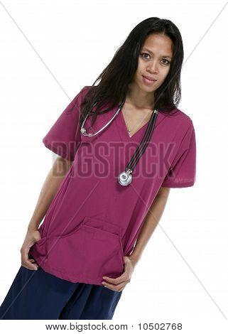 Brunette In Medical Scrubs