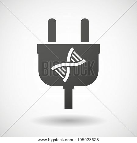 Isolated Plug Icon With A Dna Sign