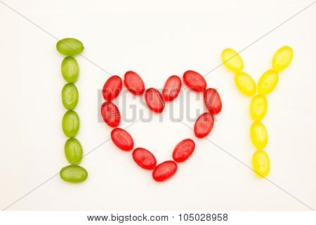 Phrase I Love You Made Of Sugar Candy