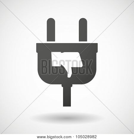 Isolated Plug Icon With A Thumb Down Hand