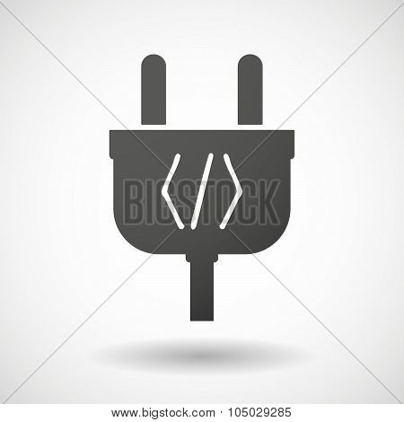 Isolated Plug Icon With A Code Sign