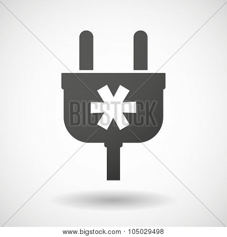 Isolated Plug Icon With An Asterisk