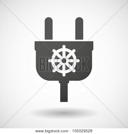 Isolated Plug Icon With A Dharma Chakra Sign