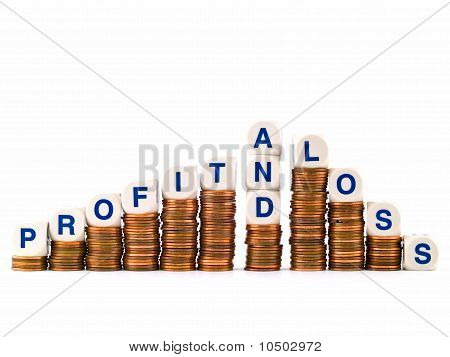 Letter Dice Spelling Profit And Loss Atop Penny Stacks