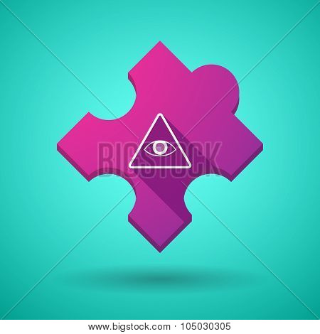 Long Shadow Puzzle Icon With An All Seeing Eye