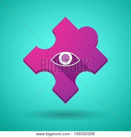 Long Shadow Puzzle Icon With An Eye
