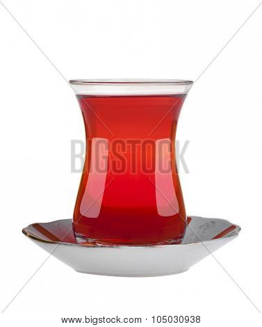 Traditional glass filled with Turkish Tea isolated on white