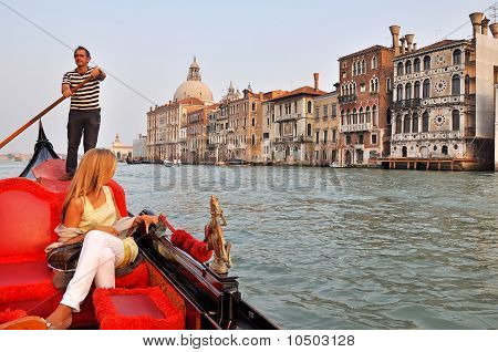 Gondola On The Grand Channel In Venice