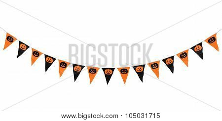 Orange And Black Pumpkins Hanging Bunting Curve Isolated On White