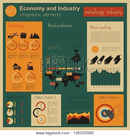 Economy and industry. Metallurgy industry. Industrial infographic template