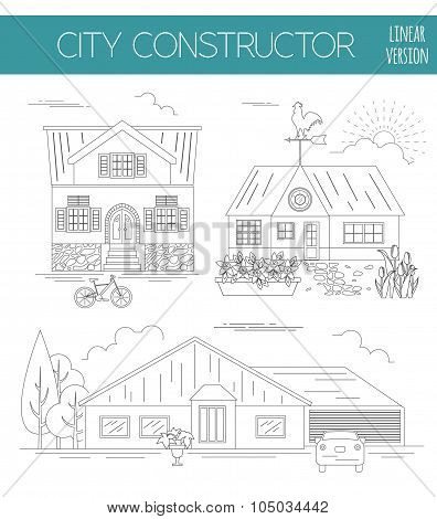 Great city map creator. Outline version. House constructor. House, cafe, restaurant, shop